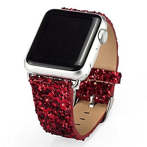 iitee de Noël Brillant Paillettes Puissance en cuir PU Bling de luxe iwatch bande montre bracelet montre ceinture pour