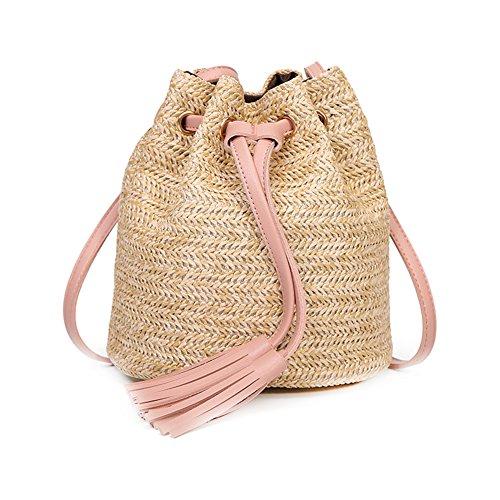 Hosaire 1x Mode Doppeltroddel Bucket Bag Umhängetasche Handtasche Damen Tasche Stroh Tasche Schultertaschen 19 * 15 * 19cm Rosa -
