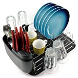 Cookware Drying Rack - Dish Draining Set With Black Drainboard - Removable Compact