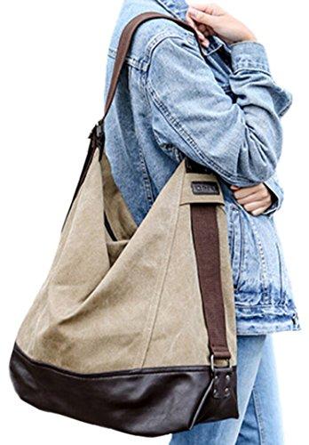 DATO Grande Tela Borsa a Tracolla da Donna Vintage Borsetta Borse a Mano Sacchetto Messenger Borsa a Spalla Borsoni Tote Shopper Bag Cachi