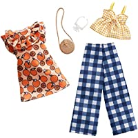 Barbie Clothes: 2 Outfits for Barbie Doll Include A Dress, Top and Pants with Checked Prints, Gift for 3 to 8 Year Olds