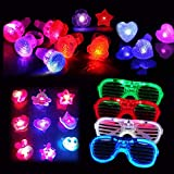 Dsaren 20 Pcs Súper Brillante Artículos de Fiesta para Navidad, Halloween y Birthday Party, Incluyendo 12 Anillo de Dedo de Luz, 4 Gafas Luminosas, 4 Glowing Brooch (Color Aleatorio)