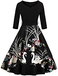 VERNASSA 50's Retro Swing Dress,Vintage 3/4 Sleeve Swan Print Belted Dress Casual Party Cocktail Evening A-Line Dresses, Multicolor, S-4XL