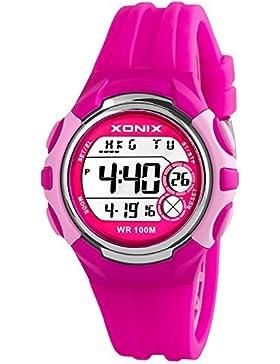 Digitale Armbanduhr XONIX Unisex 8 x Alarm Weltzeitangabe Timer u.v.m WR100m, I92JT43F/3