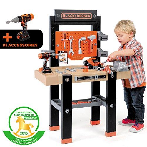 Unbekannt 103cm Black+Decker Kinder Werkbank Center mit 92 Zubehör und Fahrzeugbausatz: Spielzeug Werkbank Kinderwerkzeug Werkstatt