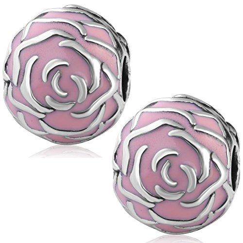 Lot-de-2-Charms-clip-Rose-de-jardin-en-mail-rose-et-argent-925-authentique-pour-bracelet-Charms