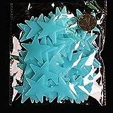 50 Pièces 4.2cm Étoiles Phosphorescente Fluorescentes Autocollants Lumineux Déco pour Chambre D'enfant Bleu