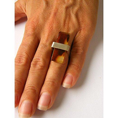 Wunderschöner Ring, balt.Bernstein, Amber, ORANGE WEISS, massives Silber 925, NEU - UNIKAT