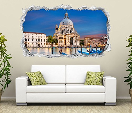 3D Wandtattoo Venedig Santa Maria della Salute Boot Wasser Schloss Wand Aufkleber Durchbruch Stein Wandbild Wandsticker 11N1033, Wandbild Größe F:ca. 140cmx82cm