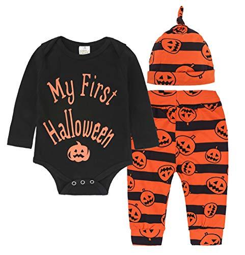 EOZY Pagliaccetti Neonato Carnevale Zucca Costume Cosplay Halloween Righe Stampate Tutine Completini Bambino Petto 46cm