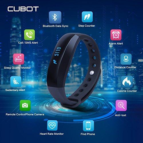 CUBOT V3 Smart pulsera Bluetooth 4.0 impermeable pantalla táctil OLED Podómetro rastreador inalámbrico actividad para deporte con Heart Rate Monitor Monitor de sueño  Recordatorio SMS (Azul)