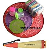 [Sponsored Products]Odishabazaar Ready To Draw Rangoli Making Kit -Stencil + Pen + Color + Filler