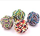 5.5cm Pet Dog Braided Cotton Rope Knot Ball Chew Toys Teeth Cleaning Ball---Random Color