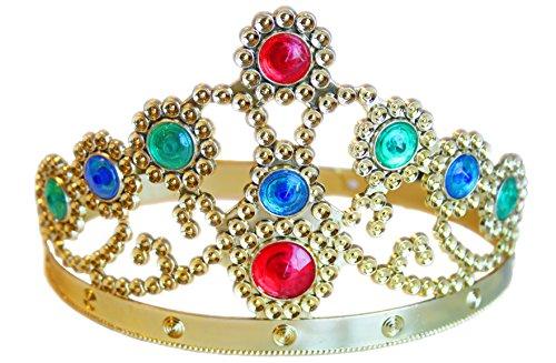 Königskrone Krone in gold für König Kostüm und Prinz Kostüm Zubehör (Krone Gold Kostüm)