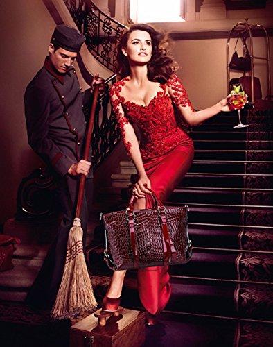 NICOLE&DORIS Damen Handtaschen Umhängetasche Schultertaschen Henkeltaschen Tasche Wasserdicht Krokodil PU Schwarz Rot