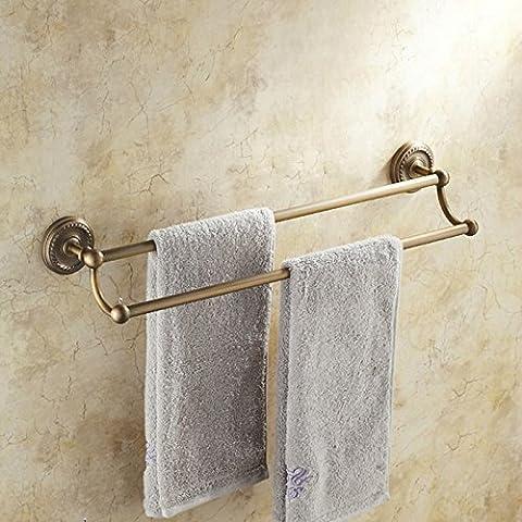Antiquariato in ottone massiccio asciugamano rack-stile retrò Portasciugamani doppio continentale