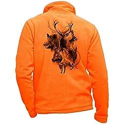 Pets-easy Polaire Chasse Orange personnalisé cerf - Habit de Chasse Taille L