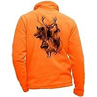 Pets-easy - Chaqueta Polar con Ciervo para Caza, diseño de Caza, Color Negro, Hombre, Color Naranja, tamaño 3XL