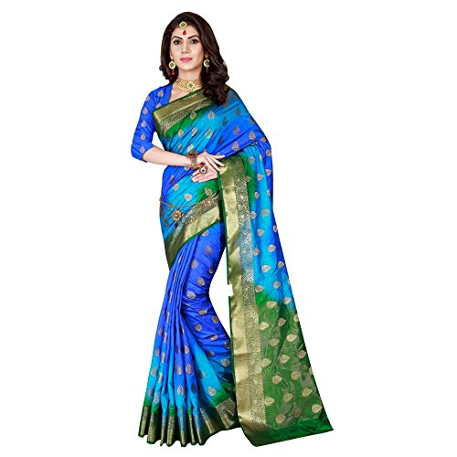 Viva N Diva Sarees For Women's Blue & Green Color Banarasi Art Silk Saree With Unstitched Blouse Piece