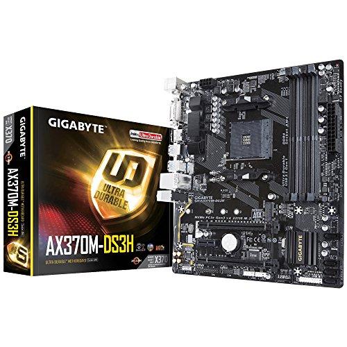 Gigabyte GA-X370M-DS3H Mainboard 4X DDR4 DIMM, dual PC4-25600U/DDR4-3200, 64GB schwarz -