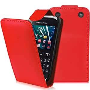 Supergets® Blackberry Curve 9320 Red Top Flip Case Covers, Screen Protector and Polishing Cloth