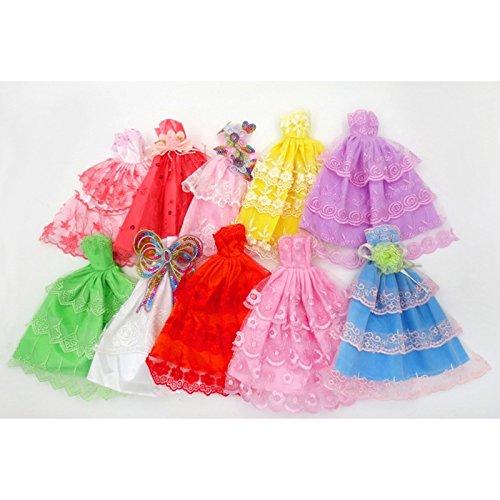 OUYAWEI Fashion Party Kleid Prinzessin Kleid Kleidung Outfit für 11in Barbie Puppe (Stil zufällig) Hochzeitskleid 6 Kleider/Tasche