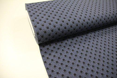 Stoff / 50cmx140cm / Kinder / beste Jersey-Qualität / Jersey / Sommer-Sweat Krone schwarz auf dunkelblau meliert