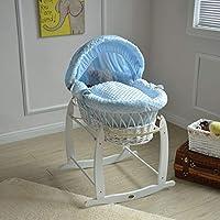 MCC Cesta de mimbre blanca de moisés con ropa de cama de lujo azul, colchón y base mecedora