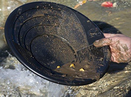 Goldwaschpfanne aus schwarzem Kunststoff, 30 cm, starke Grob- und Feinriffel, by Rheindiggers Goldwaschkurs - 3