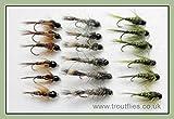 Tungsten Bead Forelle Fliegen, 18Nymphs, Oliven, Hasen Ohr, Fasan Schwanz, gemischt 10/12/14