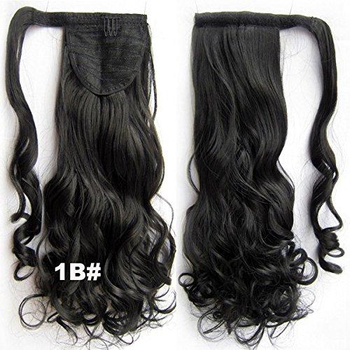 Queen Wig 22inch 55cm 90g ondes longues Hairpiece Jaw clip dans le Piece Extension Ponytail cheveux - #1B Natural Black