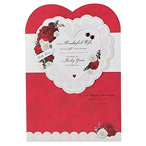 Hallmark 40th Ruby Anniversary Card For Wife 'Happy Memories' - Large