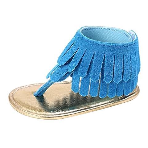 Coolster Baby Sandale Krippe Schuhe Tassel Soft Sole Anti-Rutsch Kleinkind Säugling Sneakers (Größe: 11-Länge: 11CM, Blau)