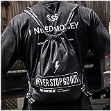 Turnbeutel Rucksack Gymbag   Hergestellt aus dickem reißfestem, wasserabweisendem Nylongewebe, weichen und dicken Ziehschnüren, Groß