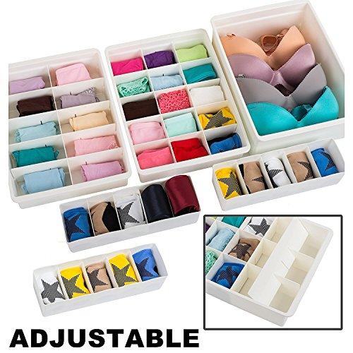 Uncluttered designs divisori per cassetti regolabili (set 6) plastica robusta elegante e personalizzabile, per biancheria intima, artigianato, intimo e bagno (blanco)