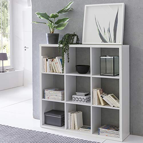 FineBuy Design Bücherregal Eddy mit 9 Fächern Weiß Standregal Holz Regal freistehend |...