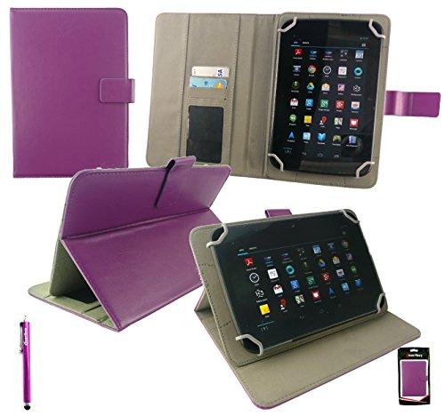 Emartbuy® Medion LifeTab S8311 MD 98983 8 Zoll Tablet Universalbereich Plum Multi Winkel Folio Executive Case Cover Wallet Hülle Schutzhülle mit Kartensteckplätze + Lila Eingabestift