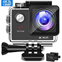 Victure AC600 Action Camera 4K WiFi 16MP UHD Sports DV for Vlog Camera 30M Waterproof Underwater Camcorder with Mounting Accessories