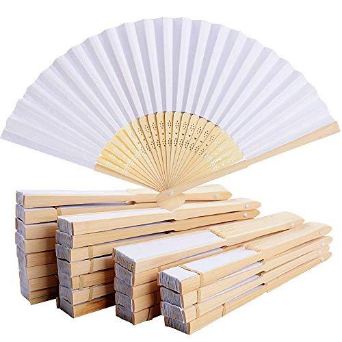 Große Box-fan (iiiusion 20er Weiß Bamboo Faltfächer Handventilatoren Papier Gefaltet Fan für Hochzeit und Heimtextilien)