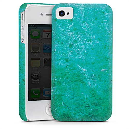 Apple iPhone 4 Housse Étui Silicone Coque Protection Rouille Structure Bleu rouille Cas Premium mat