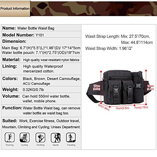 Huntvp Marsupio Uomo Sportivo, Borsetta a Tracolla Militare Borsa per Campeggio Escursionismo Ciclismo Viaggio Trekking Porta Smartphone Chiave Denaro nero