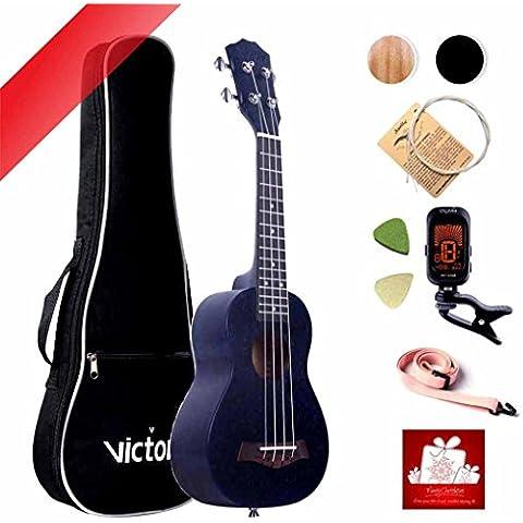 Soprano Ukulele 21 pollici Mogano Aquila stringhe Principiante piccola chitarra + Bag + Tuner + Cotton cinghie + Feltro + Scelte Aquila String (Value Pack) -