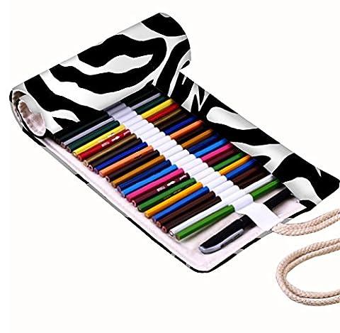 Snoogg Peau de zèbre Motif toile Wrap support pour 48crayon de couleur, rouleau de Coque pour stylo à encre gel, organiseur de voyage Pochette pour artiste, multi-usages (Crayons non inclus), 48trous