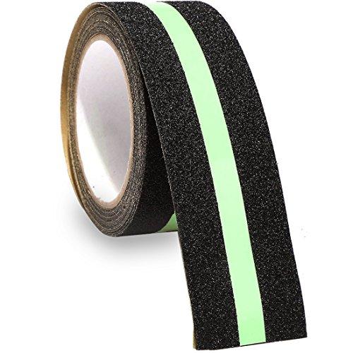 rutschfeste Grip Tape Glow in Dark - TooTaci Sicherheit Tape verbessert Grip und rutschfeste Sicherheit Stufenmatte Treppenstufe - Indoor & Outdoor 5,1 cm X 16.4 ft Schwarz