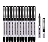Rollerball Pen, Surcotto 0.5mm Black Gel Pens Smooth Ballpoint Pen Quick-Drying Liquid Ink Rollerball Pens - Pack of 12