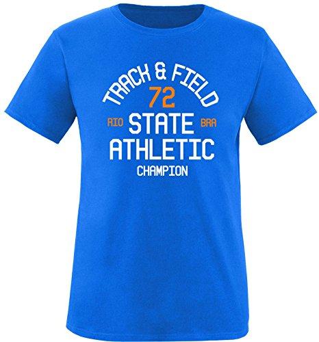 EZYshirt Track & Field Herren Rundhals T-Shirt Royal/Weiss/Orange