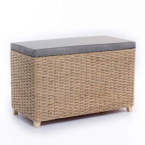 #Büloo Bettbank Schlafzimmerbank Flurbank Schuhbank Sitzbank mit Aufbewahrung AufbewahrungshockerFaltbarer Aufbewahrungsbox aus natürlicher Wasserhyazinthe,mit Füße (80x40x52cm Grau)#