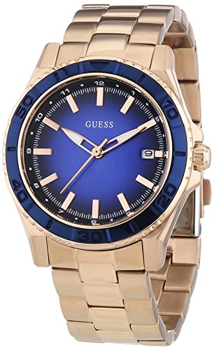 Guess Women's W0469L2 Quartz Watch with Black Dial Analogue Display Quartz and Rose Gold Stainless Steel Coated Strap