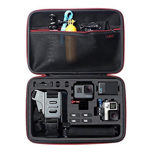 HSU Schutztasche Tragetasche (Große) - Neuer Tasche Case für GoPro Hero 2018/7/6/5/4/3+ und Zubehör, mit Tragegriff und Karabiner Loop - Gopro Großes Tragetasche