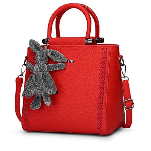 Dissa® S765 Damen 2018 Mode PU Schultertaschen,Umhängetaschen,Henkeltaschen,28x23x15(BxHxT) Rot